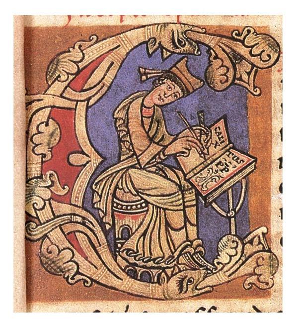 Rijk geïllustreerde oude tekening waarop een man te zien is die in een boek schrijft.