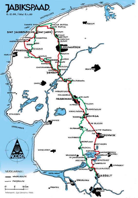 Landkaart Nederland waarop de route van het Jabikspad staat aangegeven.
