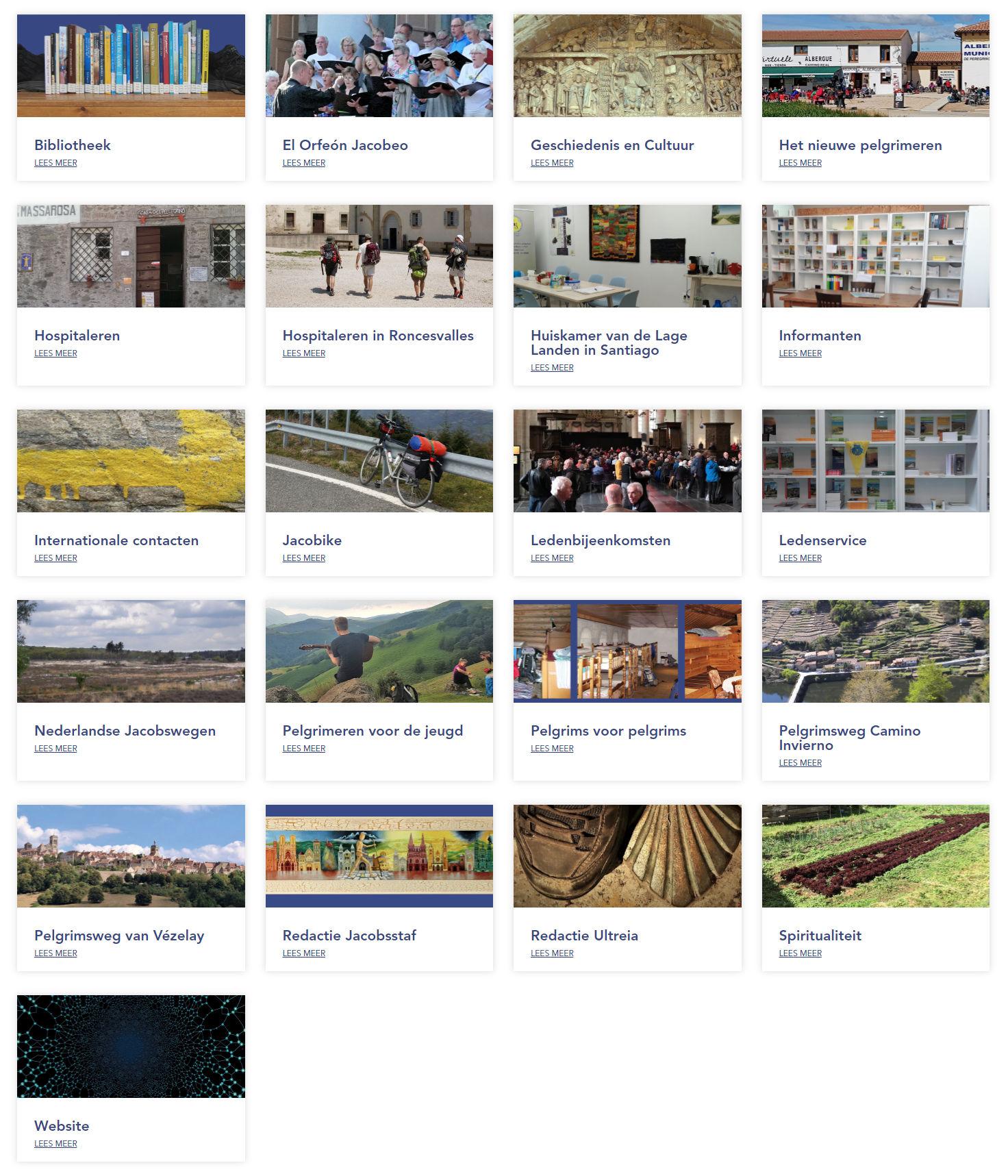 Afbeelding van de webpagina werkgroepen. Foto en onderschrift per werkgroep.