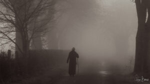 Monnik in mistig landschap op de rug gezien