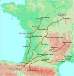 kaart frankrijk met vier pelgrimsroutes
