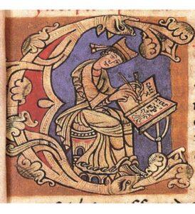 monnik schrijvend aan Codex Calixtus