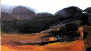 landschap illustratie uit het boek pad voor pelgrims en goddelozen
