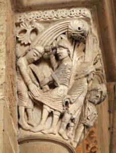 kapiteel in het portaal van de basiliek van Vézelay, onthoofding van Sint Jan