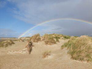 regenboog overspant duinlandschap