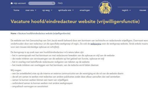 Vacature hoofdredacteur website